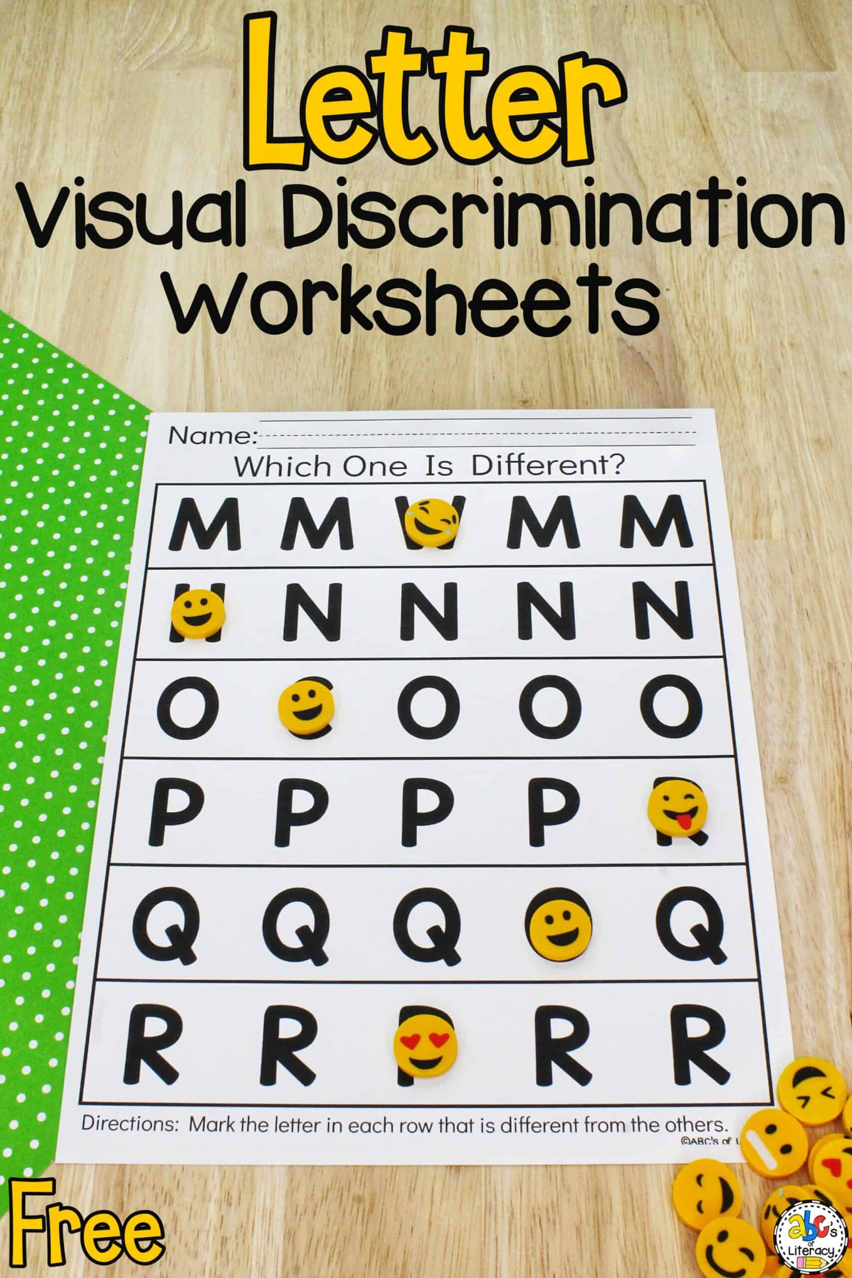 Letter Visual Discrimination Worksheets