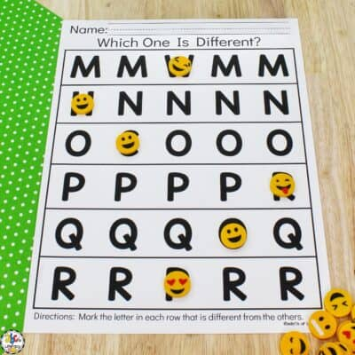 Letter Visual Discrimination Worksheets