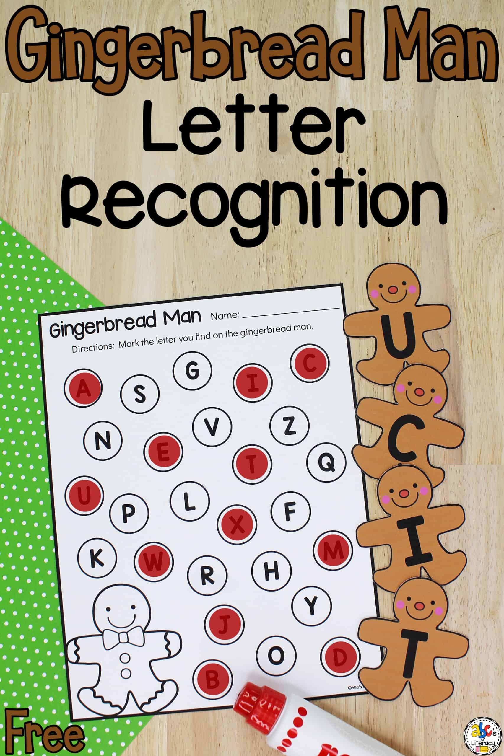 Gingerbread Man Alphabet Sensory Bin