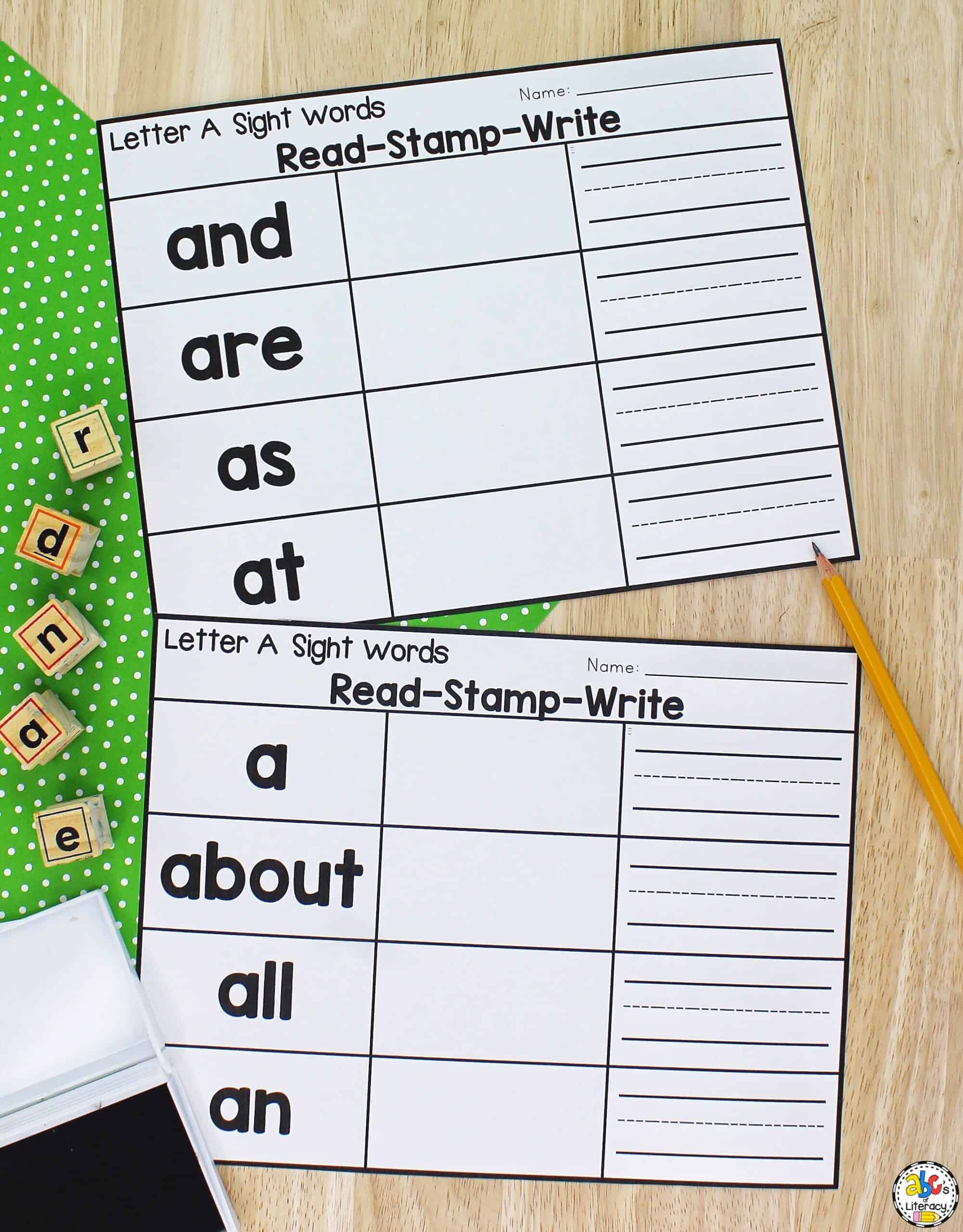 Letter A Sight Word Worksheets