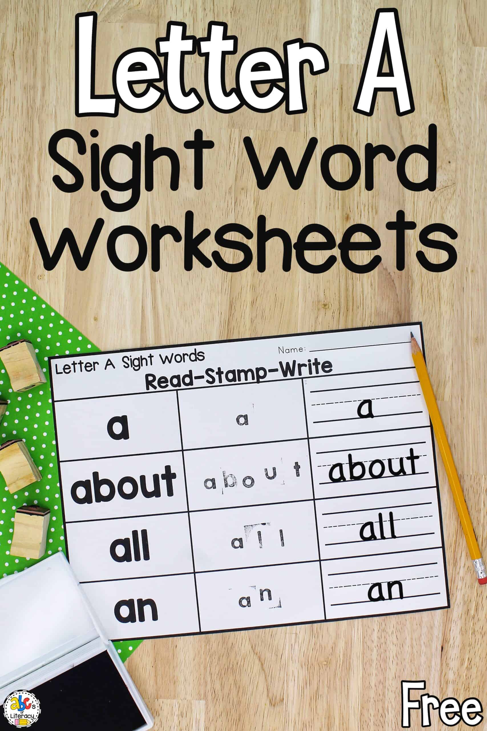Letter A Sight Words