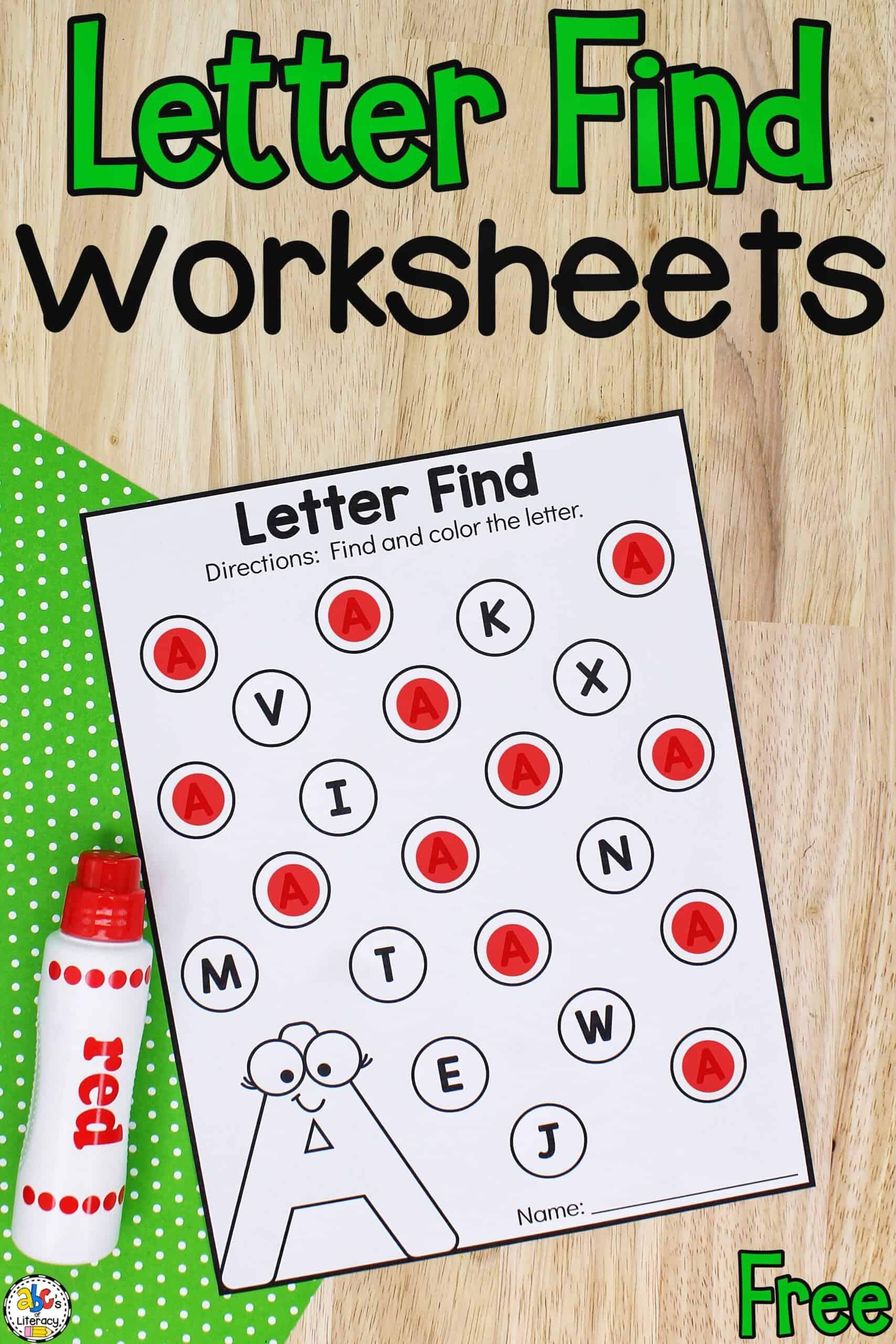 Find the Letter A Worksheets