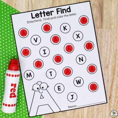 Find The Letter A Worksheet