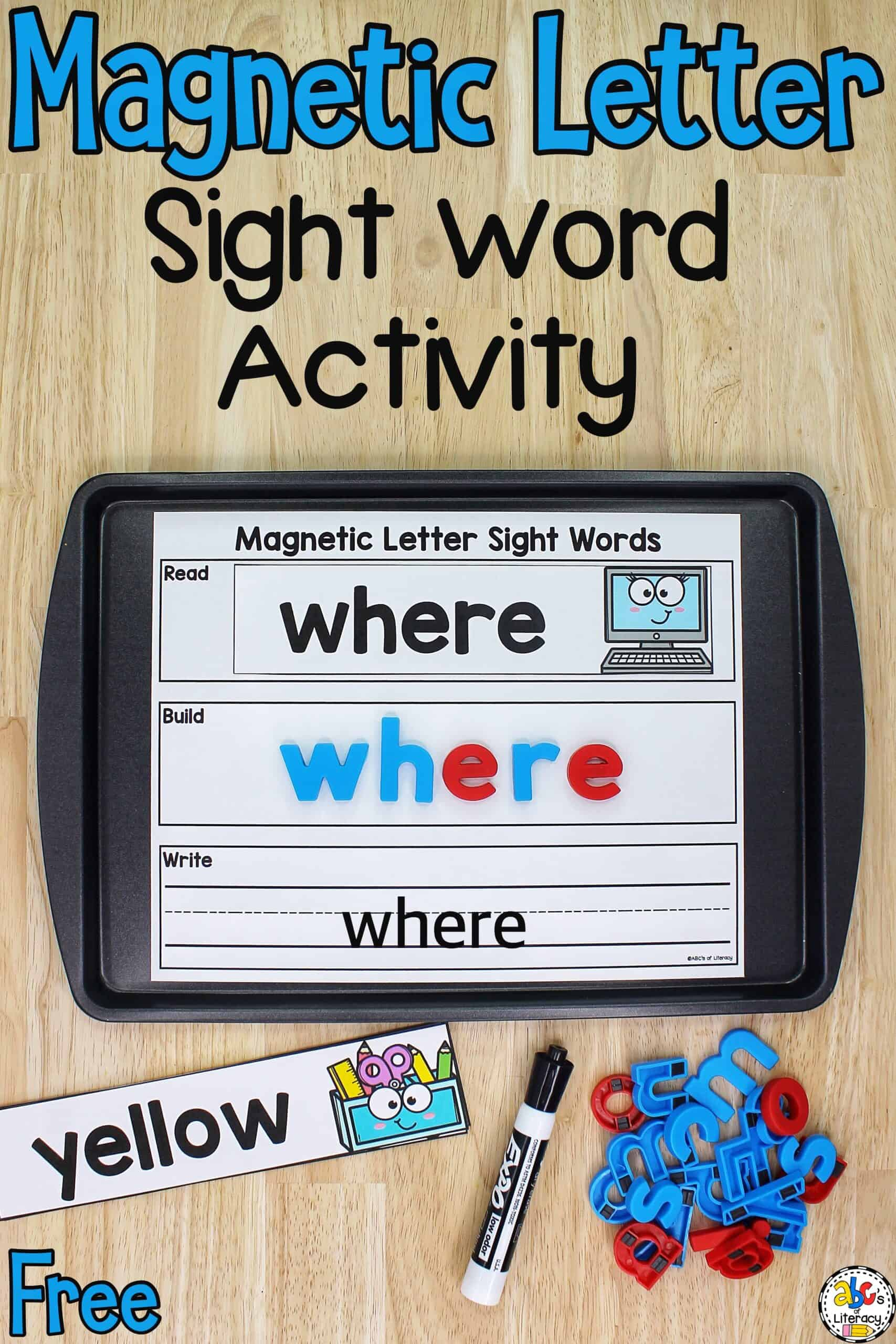 Magnetic Letter Sight Words Activity