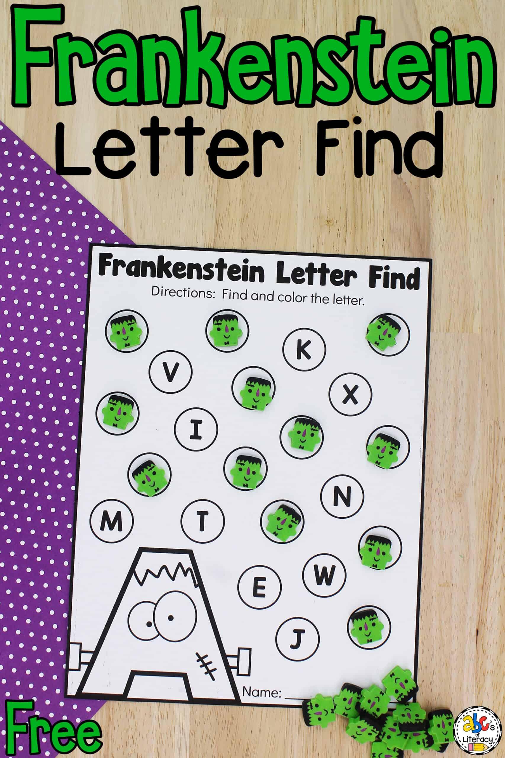 Frankenstein Letter Find Preschool Worksheets