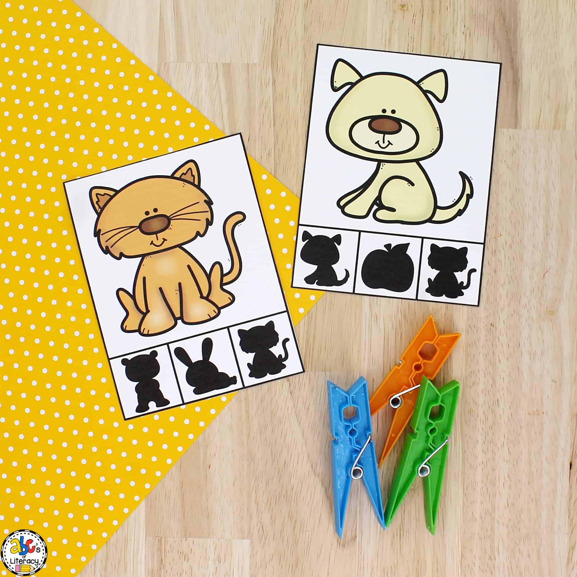 Visual Discrimination Shadow Clip Cards