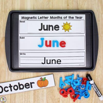 Magnetic Letter Months of the Year Activity