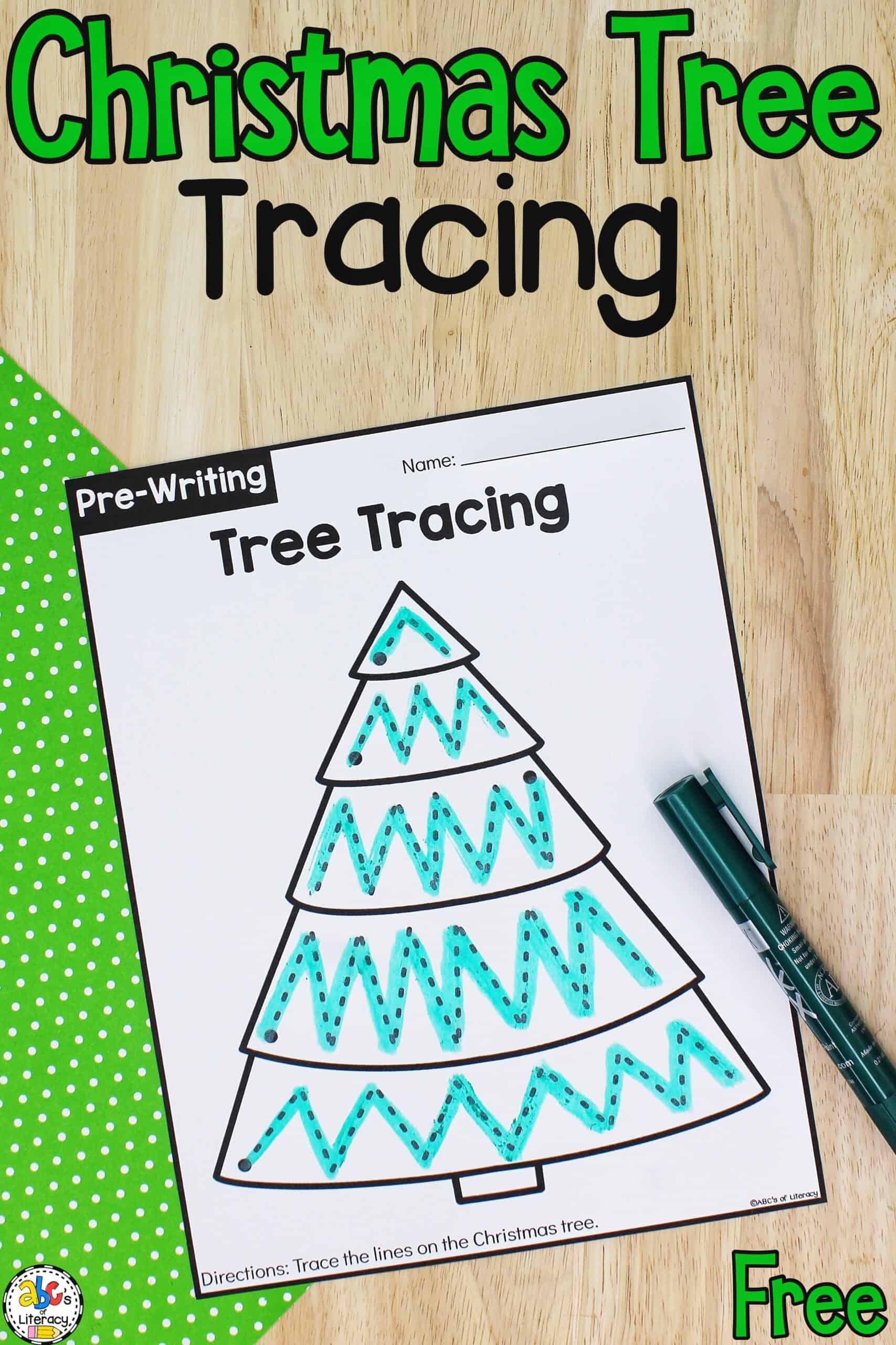 Christmas Tree Tracing Worksheets