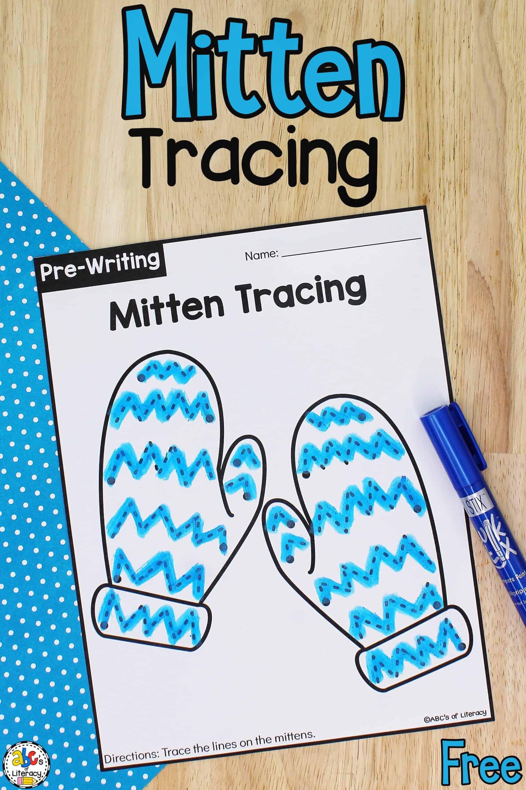 Mitten Tracing Worksheets