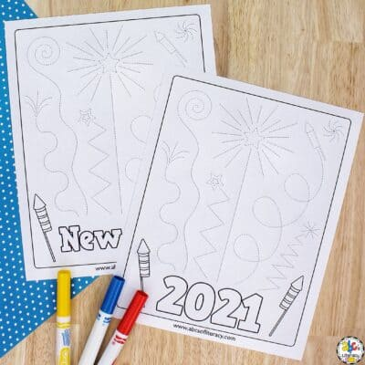New Year's Eve Fireworks Tracing Worksheets