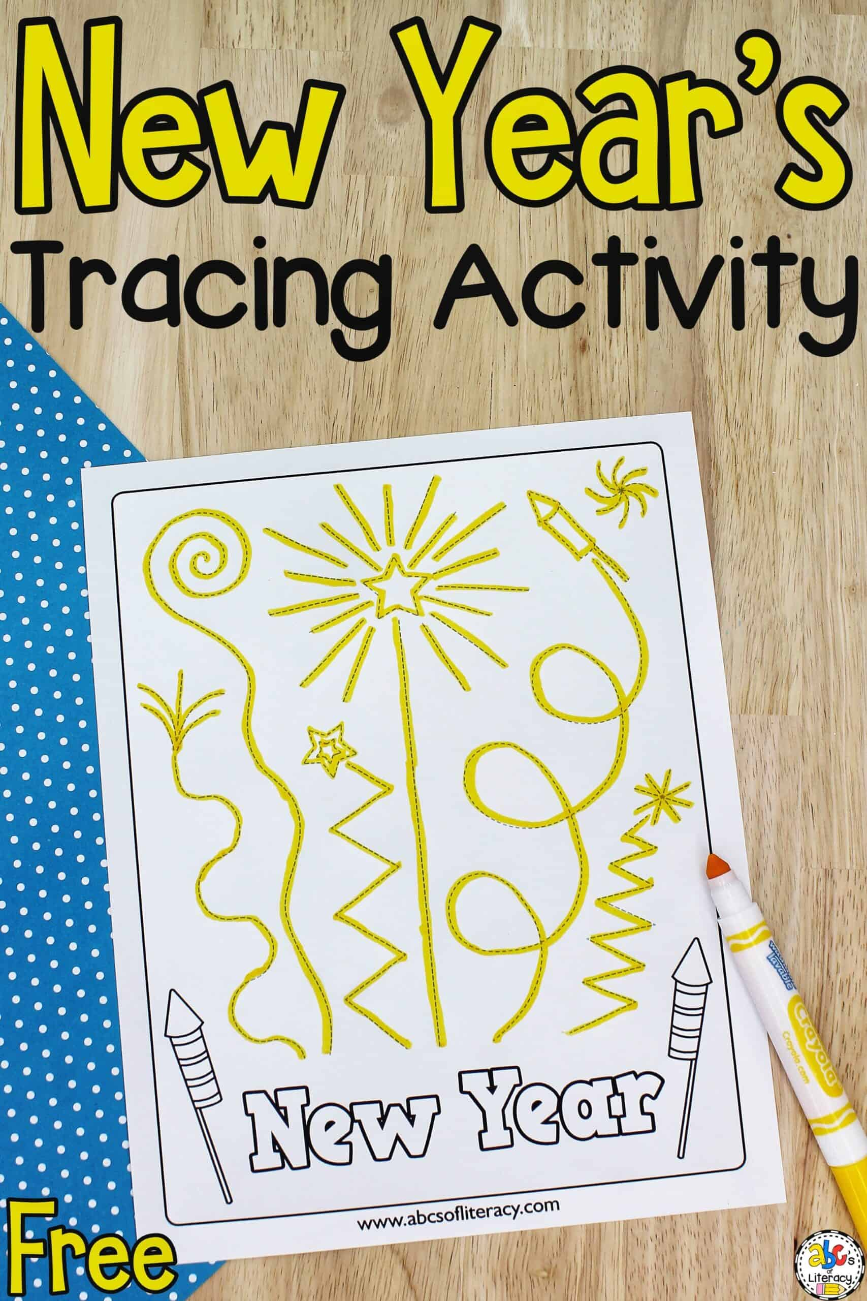 New Year's Tracing Activity