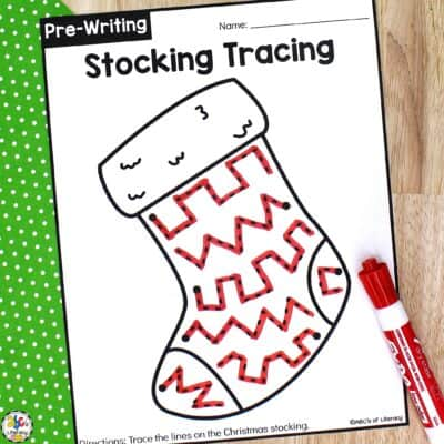 Christmas Stocking Tracing Worksheets