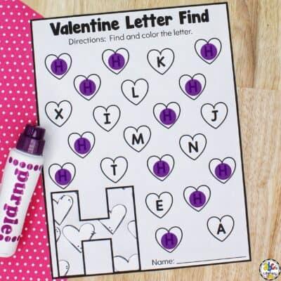 Valentine Letter Find Worksheets