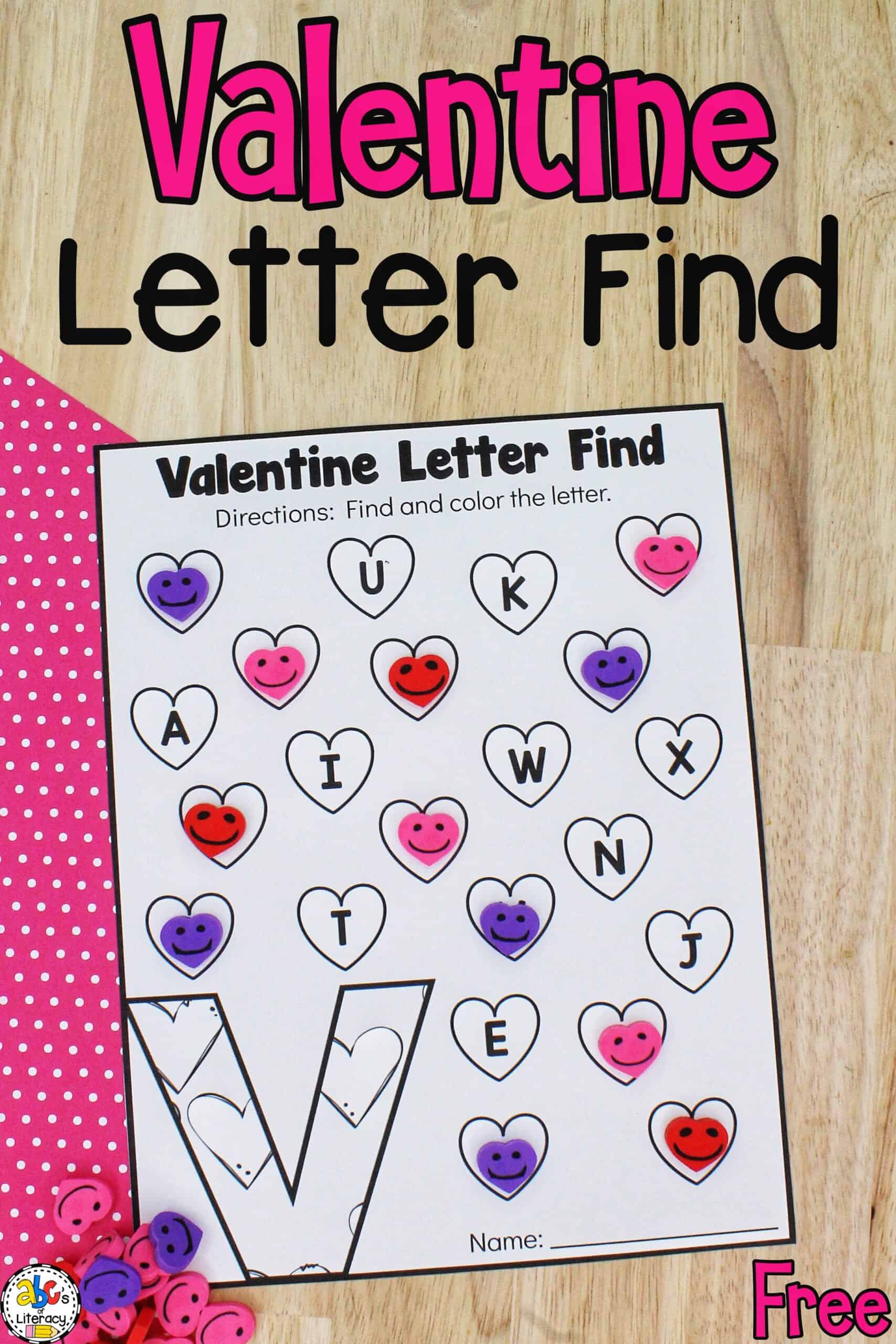 Valentine Letter Find Worksheets