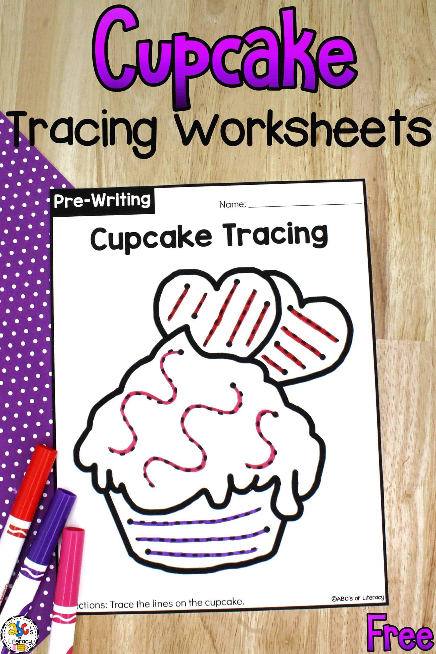 Cupcake Tracing Worksheets