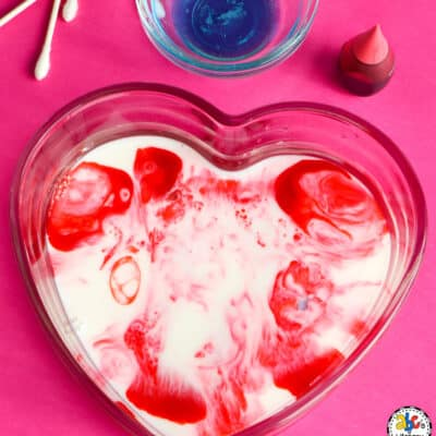 Valentine's Day Marbled Milk Science Experiment