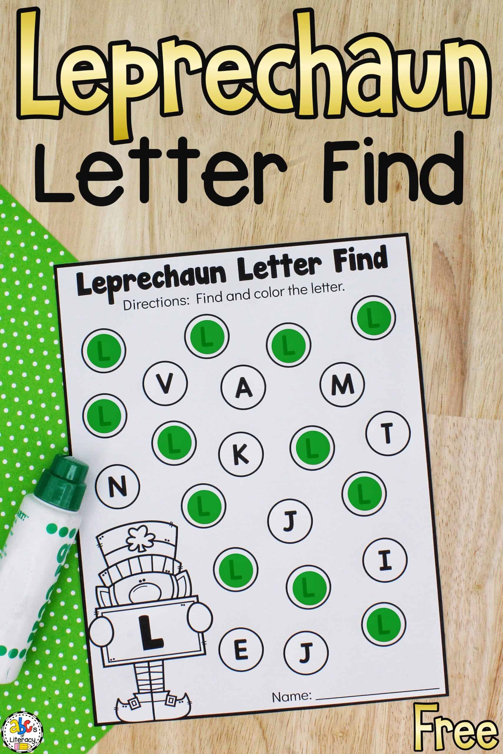 St. Patrick's Day Letter Recognition Activity