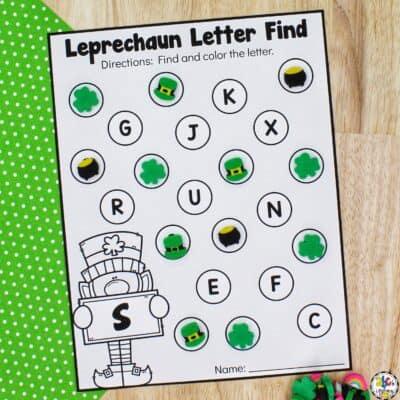 Leprechaun Letter Find Worksheets