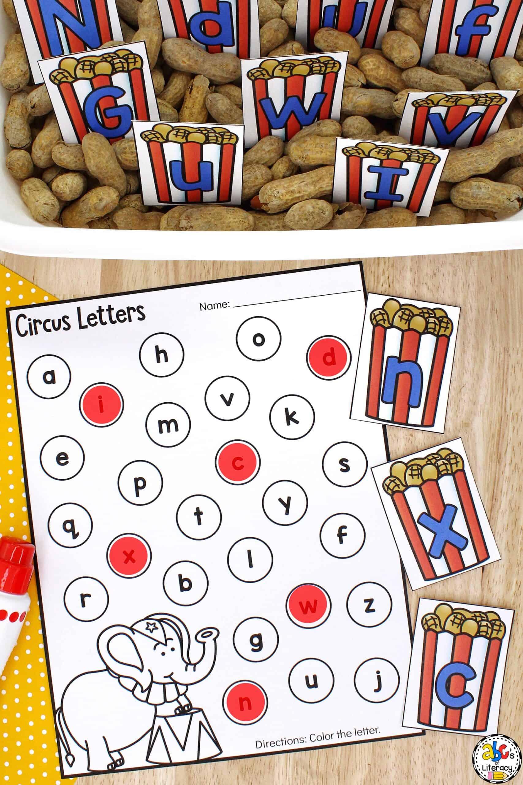 Circus Alphabet Sensory Bin
