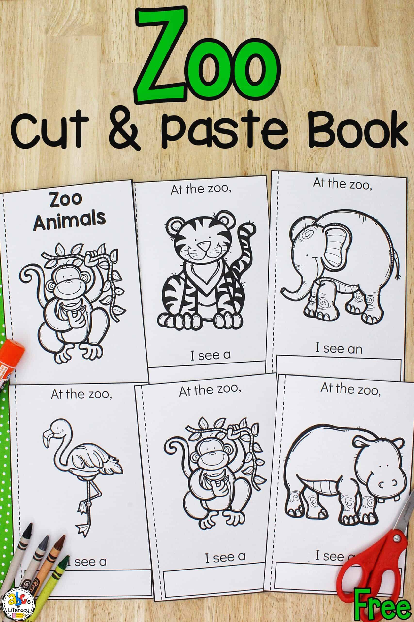 cut and paste zoo animals book