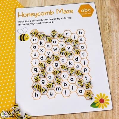 Bumble Bee Maze Worksheets for Preschool