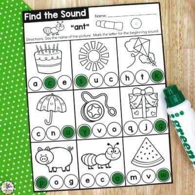 Find the Beginning Sound Preschool Worksheets
