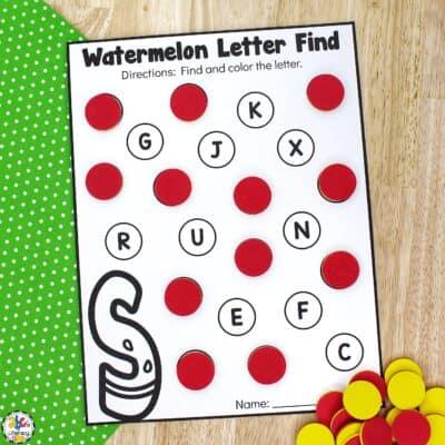 Watermelon Letter Find Preschool Worksheets
