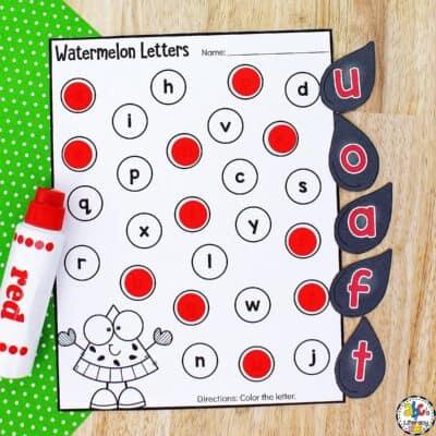 Watermelon Alphabet Sensory Bin