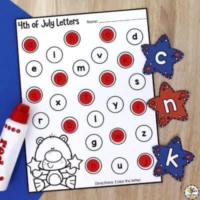 4th of July Alphabet Sensory Bin