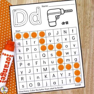 Tool Letter Maze Worksheets