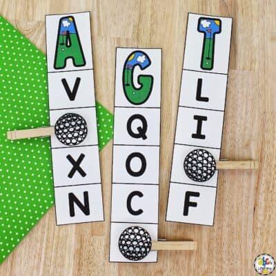 Golf Alphabet Clip Cards