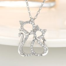 925 Sterling Silver Necklaces with Two Cats Pendant