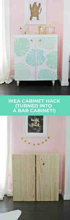 Ikea Ivar Cabinet Hack Turned Into A Bar Cabinet A Beautiful Mess