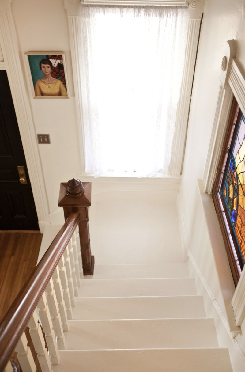 Our Bright White Stairway A Beautiful Mess | White And Wood Stairs | Non Slip | Foyer | Simple | Solid Wood | Indoor