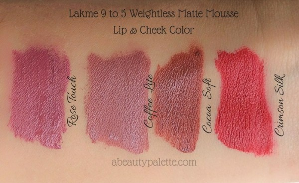 Lakme 9 to 5 Weightless Matte Mousse Lip & Cheek Color- Rose Touch, Coffee lite, Cocoa Soft, Crimson Silk
