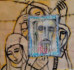الرسم 11 فيرونيكا القديسة من فلسطين )شخصيّة جدّي نايف الحاج(، 2012 خرقة قماش، جيسو وأكريليك على ورق 53X73 سم