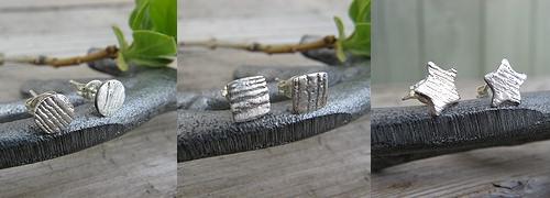 Faux wood stud earrings