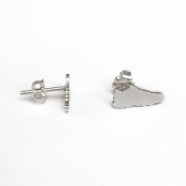 Silver running shoe earrings