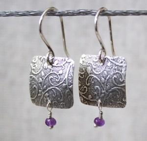 vine square earrings