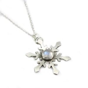 handmade sterling silver snowflake pendant