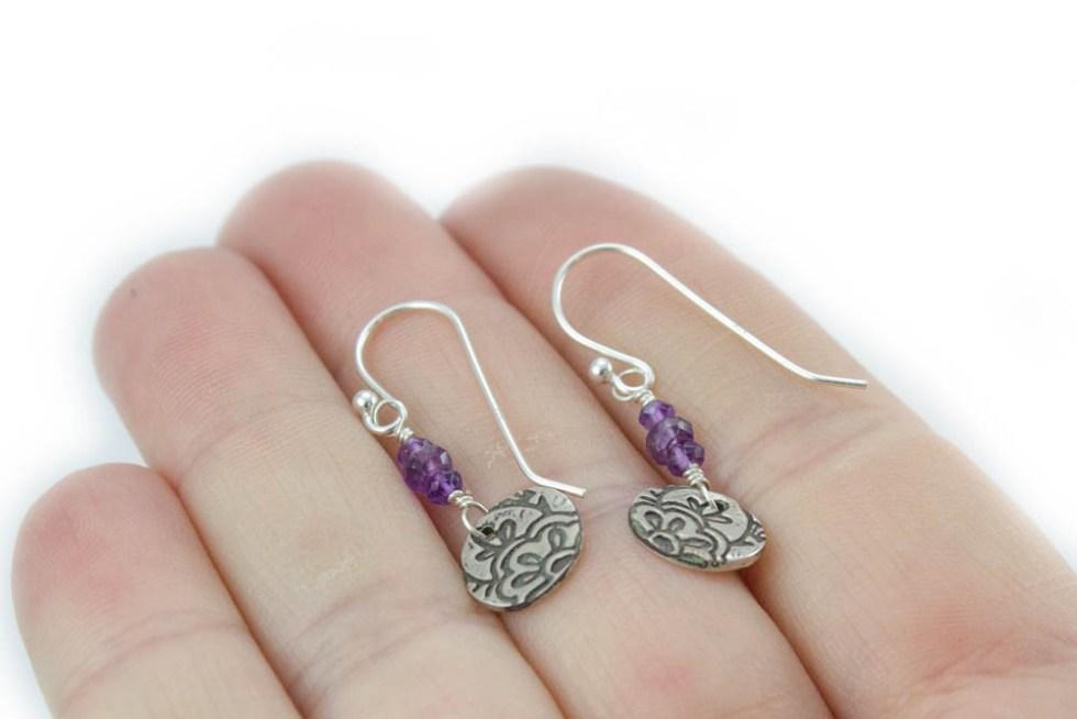 Dainty Amethyst Earrings with Lotus Flower