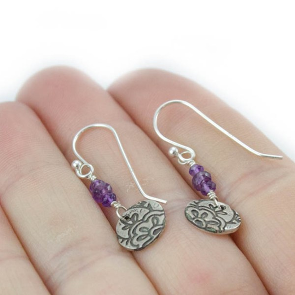 Dainty Amethyst Earrings with Lotus Flower