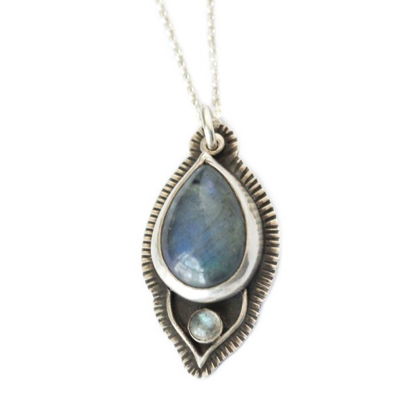 Labradorite Lotus Petal Necklace