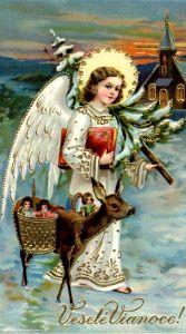 Et smukt gammelt julekort med en Christkindl!