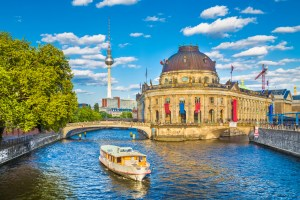 Berlin Museumsinsel with TV tower and Spree river at sunset, Germany