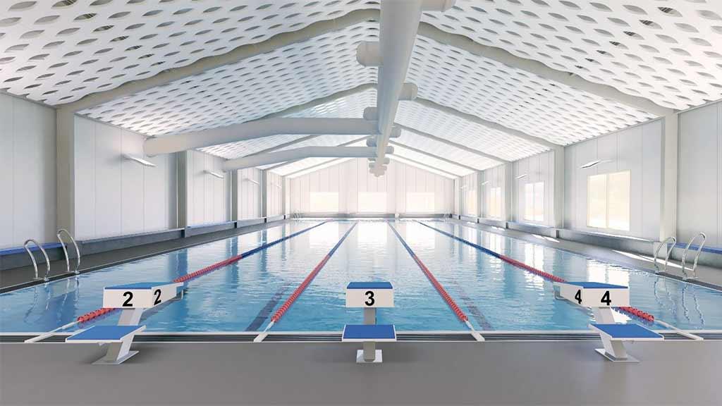 Auf dem Gelände des Sommerbades Kreuzberg entsteht binnen eines halben Jahres eine temporäre Schwimmhalle.