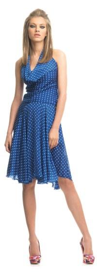 FORNARINA-Kleid blau gepunktet