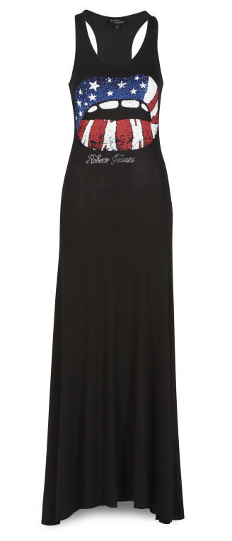 Roberto Geissini Kleid schwarz, lang, mit Applikation