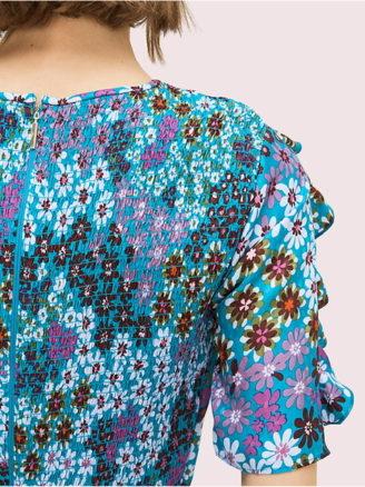 Kate Spade 2020, kurzes Sommerkleid hellblau mit Blumen