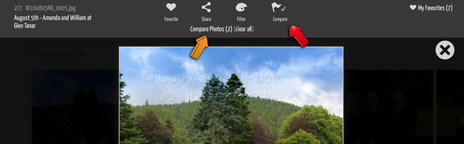 Then you can use the compare feature by clicking on the flag icon. You can compare as many images as you want but for most screens, 2 or 3 images are enough.
